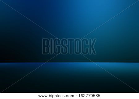 3D illustration background / Abstract blue empty room studio with spotlight gradient used for background and display your product