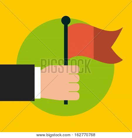 hand with red flag icon over green circle and yellow background. colorful deisgn. vector illustration