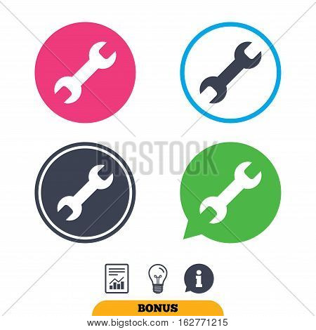 Repair tool sign icon. Service symbol. Report document, information sign and light bulb icons. Vector