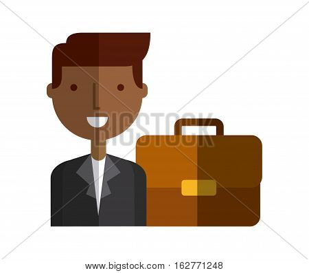 businessman smiling and brown briefcase icon over white background. colorful design. vector illustration