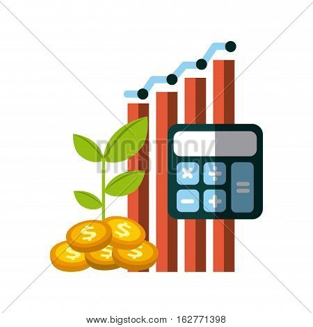graphic chart with calculator and gold coins over white background. colorful design. money and profits concept. vector illustration