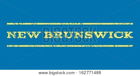 New Brunswick watermark stamp. Text tag between horizontal parallel lines with grunge design style. Rubber seal stamp with scratched texture. Vector yellow color ink imprint on a blue background.