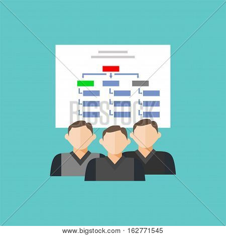 Department team diagram structure. Hierarchical structure icon.