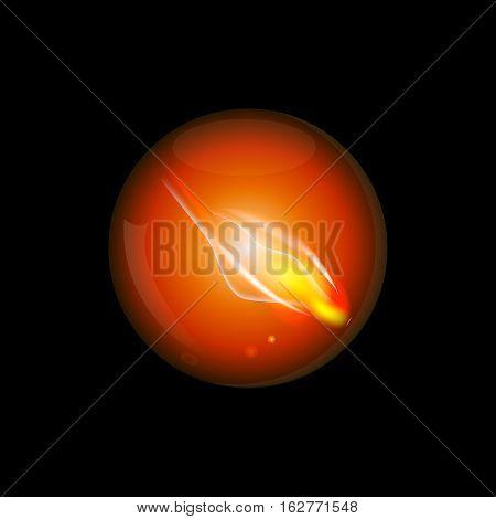 Glass fireball in the dark abstract art illustration