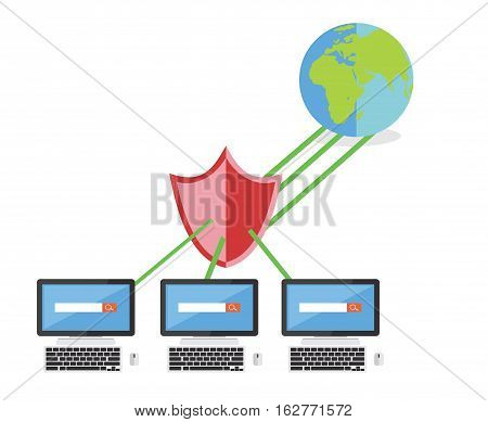 Limited internet access. Firewall. Network security concept.