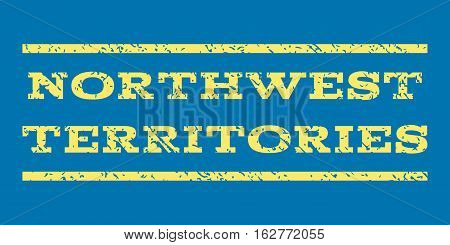 Northwest Territories watermark stamp. Text tag between horizontal parallel lines with grunge design style. Rubber seal stamp with scratched texture.