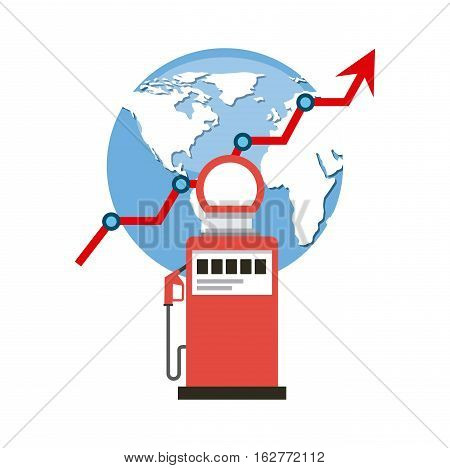 gas station pump and earth planet icon over white background. colorful design. vector illustration