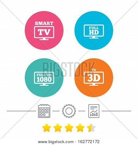 Smart TV mode icon. Widescreen symbol. Full hd 1080p resolution. 3D Television sign. Calendar, cogwheel and report linear icons. Star vote ranking. Vector