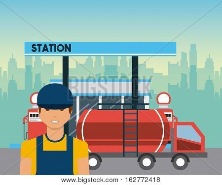 gas station, tanker truck and worker man icon. colorful design. vector illustration