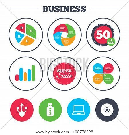 Business pie chart. Growth graph. Usb flash drive icons. Notebook or Laptop pc symbols. CD or DVD sign. Compact disc. Super sale and discount buttons. Vector