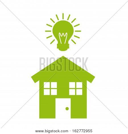 bulb light and house shape icon over white background. think house design. vector illustration