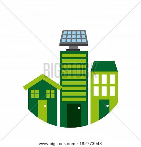 house and building with solar panel on the roof icon over white background. sustainability and think green design. vector illustration