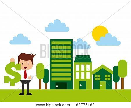 man holding a money sign icon on green city. colorful design. colorful design. vector illustration