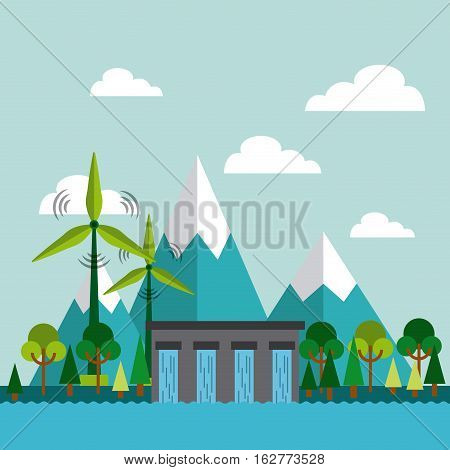 water dam and wind turbines on mountain landscape. colorful design. vector illustration
