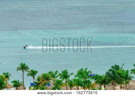 Jet Ski In A Blue Caribbean Sea