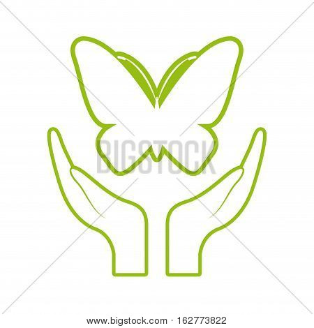 hands with butterfly icon over white background. colorful design. vector illustration