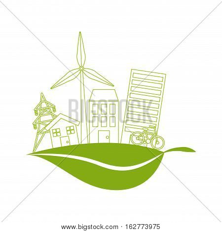 green city icon over white background. colorful design. vector illustration