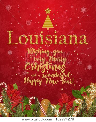 Louisiana Merry Christmas and a Happy New Year greeting vector card on red background with snowflakes.