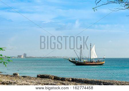 Tourist Sailboat Anchored In The Sea In Aruba