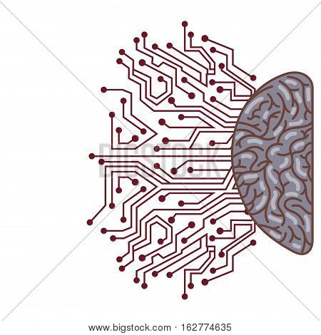 hemisphere with human brain with circuit board icon over white background. colorful design. vector illustration