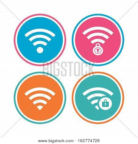 Wifi Wireless Network icons. Wi-fi zone locked symbols. Password protected Wi-fi sign. Colored circle buttons. Vector