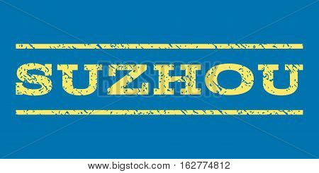 Suzhou watermark stamp. Text caption between horizontal parallel lines with grunge design style. Rubber seal stamp with dust texture. Vector yellow color ink imprint on a blue background.
