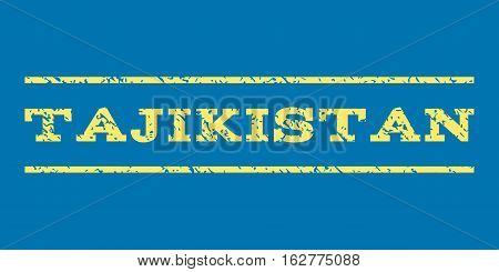 Tajikistan watermark stamp. Text tag between horizontal parallel lines with grunge design style. Rubber seal stamp with dust texture. Vector yellow color ink imprint on a blue background.