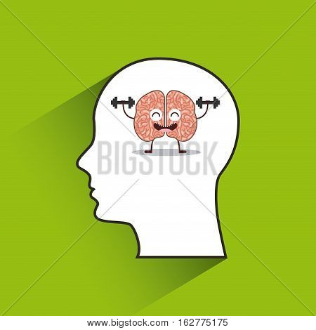 profile head with cartoon brain icon over green background. colorful design. vector illustration