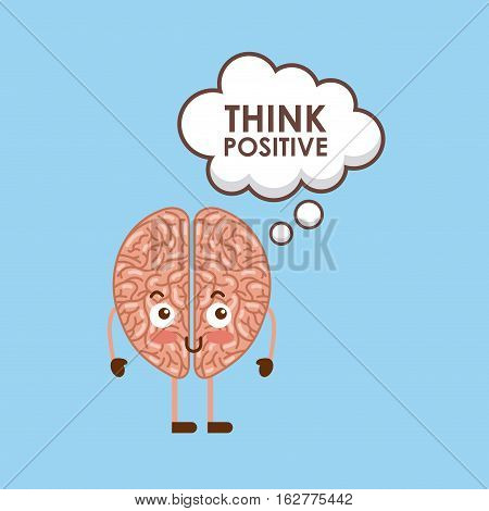 cartoon brain icon over blue background. colorful design. vector illustration