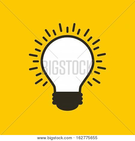 bulb light icon over yellow background. colorful design. vector illustration