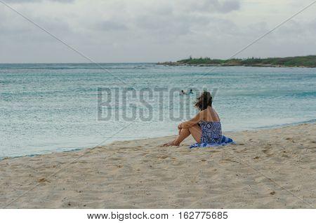 Tourist Enjoying Amazing View Of The Arashi Beach