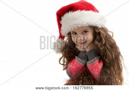 Happy small child in costume. Merry Christmas. Happy New Year