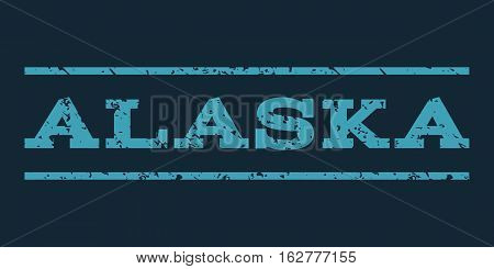 Alaska watermark stamp. Text caption between horizontal parallel lines with grunge design style. Rubber seal stamp with dust texture. Vector blue color ink imprint on a dark blue background.