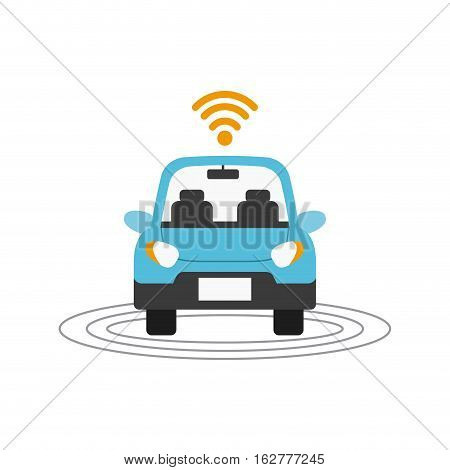 autonomous car with wireless icon over white background. colorful design. vector illustration