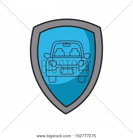 shield with car vehicle icon over white background. colorful design. vector illustration