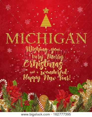 Michigan Merry Christmas and a Happy New Year greeting vector card on red background with snowflakes.