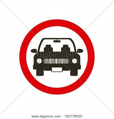 parking zone sign with car icon over white background. colorful design. vector illustration