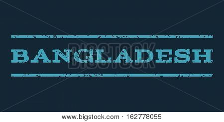 Bangladesh watermark stamp. Text caption between horizontal parallel lines with grunge design style. Rubber seal stamp with dust texture. Vector blue color ink imprint on a dark blue background.