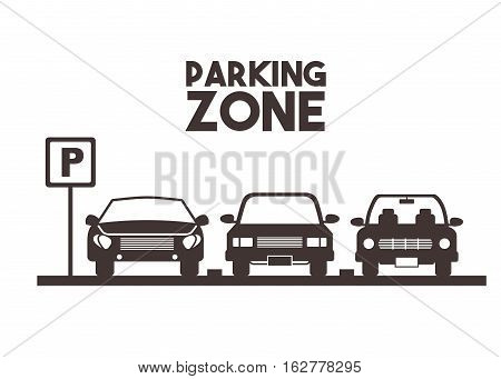parked cars in a parking zone over white background. vector illustration