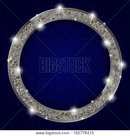 Round Silver Frame With Lights On Dark Background