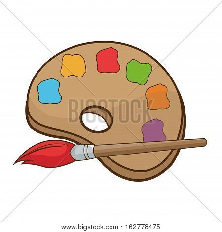 Paint brush and palette icon. Art creativity painter and abstract theme. Isolated design. Vector illustration