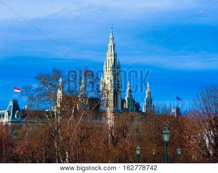 Vienna City Hall, Wiener Rathaus, Austria at winter