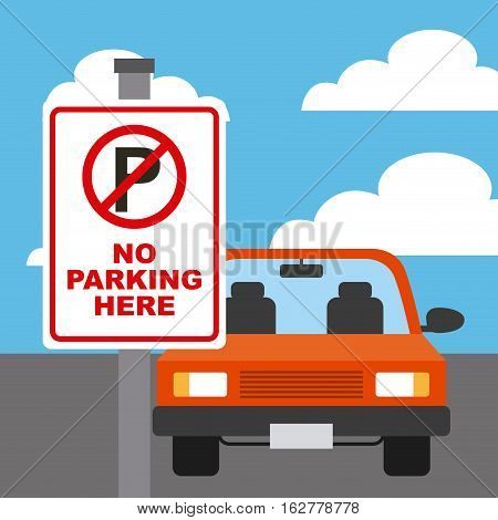 parked car in forbidden parking zone. colorful design. vector illustration