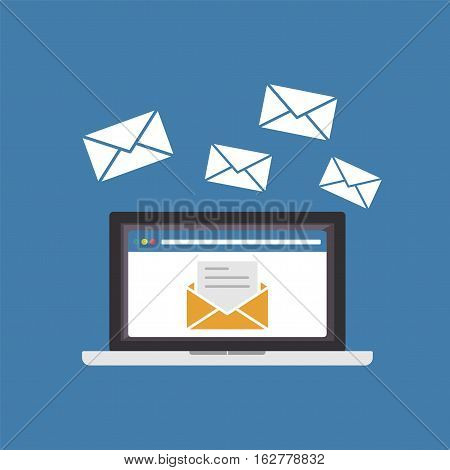 Sending or receiving email on laptop. Email icon.