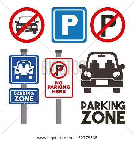 parking zone signs and car icon set over white background. colorful design. vector illustration