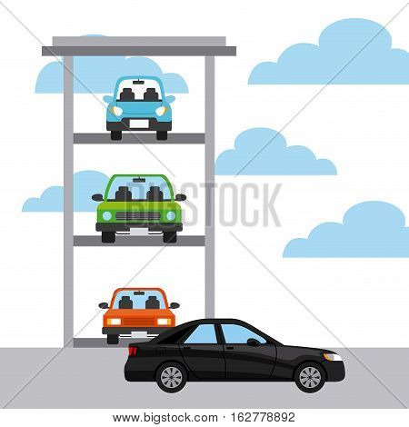 parked cars and black car icon. colorful design. vector illustration
