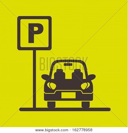parking zone sign with car icon over green background. colorful design. vector illustration