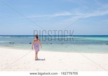 Tourist Enjoying Amazing View Of The Mangel Halto Beach