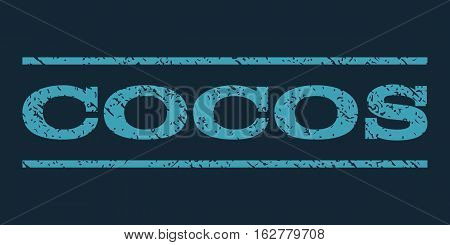 Cocos watermark stamp. Text caption between horizontal parallel lines with grunge design style. Rubber seal stamp with scratched texture. Vector blue color ink imprint on a dark blue background.