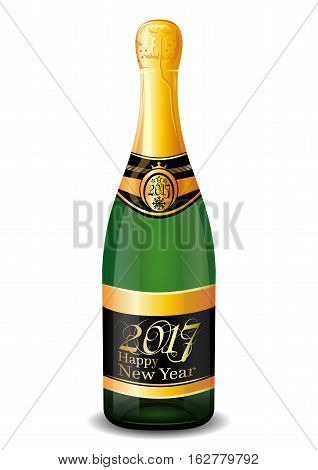 Champagne 2017. Corked bottle of champagne with the inscription on the label - Happy New Year 2017. Vector illustration isolated on white background
